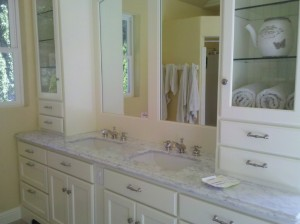 Gorgeous New Marble Counter with New Bathroom Fixtures installed by Craig Johnson Plumbing